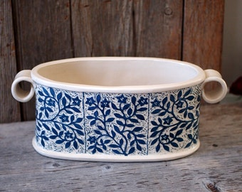 Bowl, Oblong with Round Handles and Hand Carved with Teal Blue and White Flower Vines