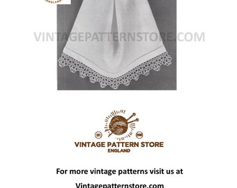 1960s, tatted lace, guest hand towel edging - Vintage PDF Tatting Pattern 1824