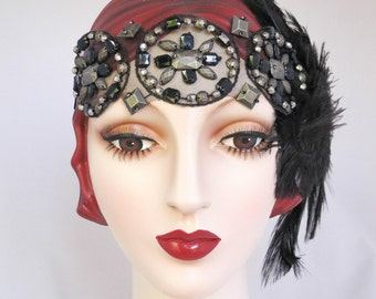 Vamp Flapper Feather Headband Black Feathers, Great Gatsby Headband, Roaring 20s, One Of A Kind