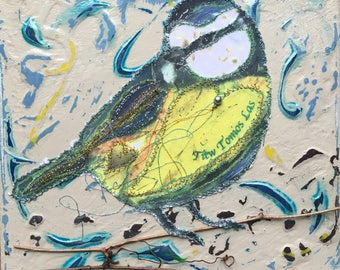Fiddlestitch Blue Tit Canvas. Blue Tit. A hand painted and stitched Blue Tit Canvas - perfect gift for bird lovers.