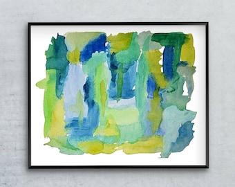 Minimalist Print, Abstract Watercolor, Blue And Green, Gallery Wall, Abstract Art Print, 12x16 16x20 18x24 24x32, Watercolor Art Print