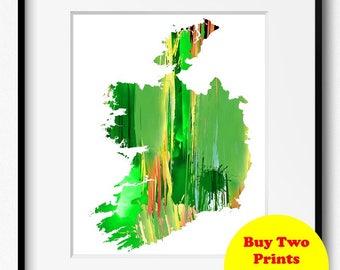 Republic of Ireland Watercolor Green Map Art Print (202) Eire