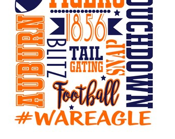 Football Subway svg file, war eagle svg, football svg, auburn tigers svg, cut file, svg, dxf file, silhouette studio file, design space svg