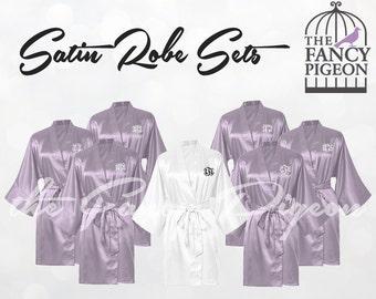 LILAC SATIN ROBES - Silk Robe for Bridesmaids - Wedding Robes - Personalized Robes - Bridesmaid Gift - Bridesmaid Robe - Bridal Party Robe