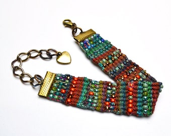 Tapestry Bead Woven Bracelet Extension Chain Lobster Clasp