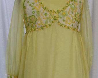 Embroidered Ethereal Yellow Maxi Dress, vintage late 1960s, size small (2, 4, 6)