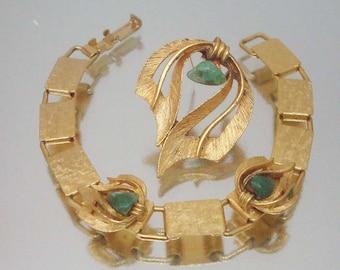 Brushed Gold Tone Jade Bracelet & Pin Brooch Vintage Unused r