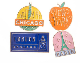 Vintage Travel Clothing Pins/ I Love to Travel Pins/ Traveler's Clothing Pins/ NYC Pins/ Paris Pins/ Chicago Pins/ London Pins