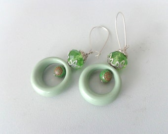 Foam green summer earrings
