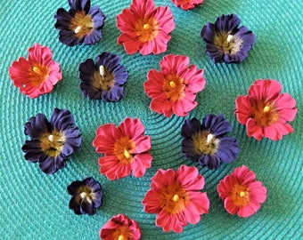 Royal Icing Hibiscus Flowers In Pink and in Purple with Gold Centers ReAdY To ShIp !