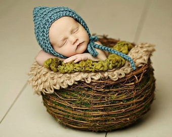 Crochet Baby Bonnet / Newborn Bonnet / Crochet Newborn Photo Prop Hat / Baby Boy Newborn Photo Prop / Newborn Baby Bonnet / Custom Colors