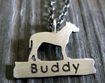 Pit Bull Pitbull Name Anhänger Neckace. American Staffordshire Terrier Hund Schmuck. Sterling Silber. Pitbull-Post-Schmuck. Tierrettung.