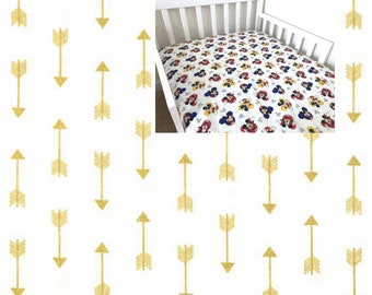 Ready To Ship Fitted Crib Sheet Gold Arrows Fitted Crib Sheet Aztec Arrows Nursery