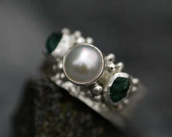 Raw Emerald and Pearl Sterling Silver Ring- One Ring or Two Ring Bridal Set