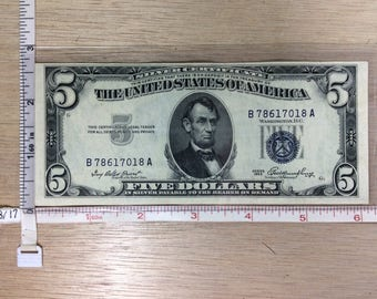 1953 Silver Certificate Five Dollar Money No B78617018A Used