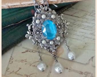 Ophelia Necklace ~ Victorian-inspired, OOAK, Art Nouveau design, Pre Raphaelite style, freshwater baroque pearl, portrait necklace