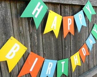 Classic Happy Birthday Banner, First Birthday, Pennant Banner, Baby Shower, Backdrop Banner, Photoshoot, Wedding, Birthday Banner