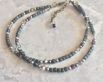 Gemstone Anklet, Hematite and Crystal Anklet, Healing Anklet, Hematite Ankle Bracelet, Hematite Jewelry, Beaded Anklet, Rainbow Hematite UK
