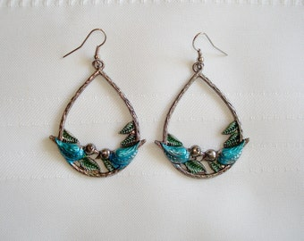 Cute Enameled Bird Silver Tone Dangle Handmade Earrings