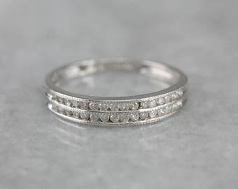 Double Row Diamond White Gold Wedding Band, Stacking Ring EUQXL0LZ-R