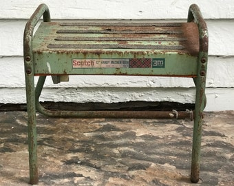 shop stool ~ Scotch Brand Handy Masker step stool ~ industrial green shop stool ~ metal stepstool ~ distressed green industrial step stool