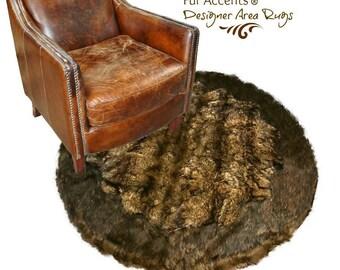 Plush Round Faux Fur Area Rug - Luxury Fur Soft Shaggy Bear Skin - Wolf Pelt - Sheepskin - Designer Throw Rug - Fur Accents USA