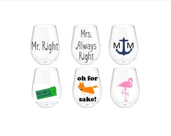 stemless acrylic wine glasses