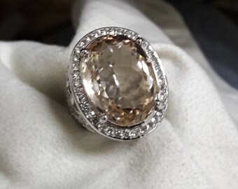 Stunning Natural Champagne Topaz Men Statement Ring...