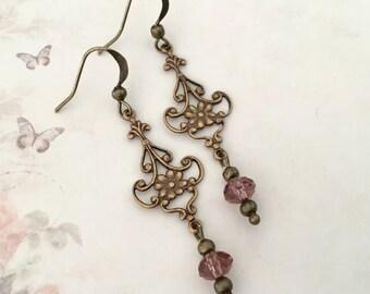 Brass bronze chandelier earrings refined brass earrings filigree earrings