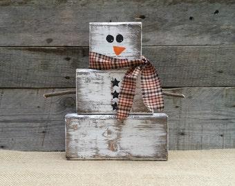 Rustic Wooden Snowman, Christmas Decor, Block Snowman, Reclaimed Distressed Wooden Snowman, Primitive Christmas, Winter Decor, Free Shipping