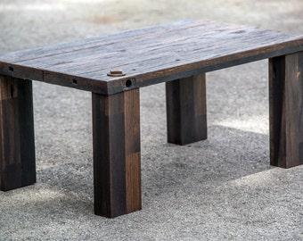 reclaimed wood coffee table rustic salvaged industrial oak