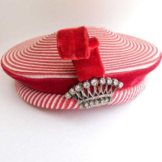 Vintage O'Neil's Peppermint Swirl Hat with Rhinestone Crown Pin and Red Velvet Trim