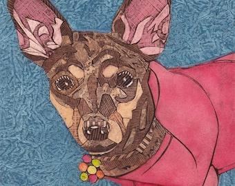 Chihuahua Art Print, Dog Portrait, Dog Decor, Collograph - Pretty in Pink 6