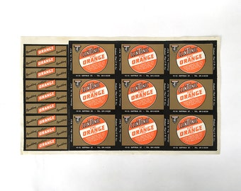 CLINTONIC Orange Soda  30s 40s uncut Label sheet NEW YORK City
