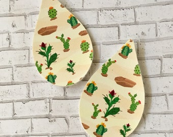 Cactus Faux Leather Pleather Shapes Cut Outs Earring Supplies Do It Yourself Craft Jewelry Supplies