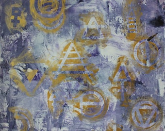 Portrait of a Human - abstract conceptual fine art acrylic painting, alchemy, science theory