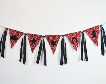 Red BANDANA Pennant Birthday Banner-Cowboy Theme-Banners-Cowboy/Farm/Rodeo/Country Birthday Banner-Custom Banners-Party Banner