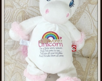Worry Unicorn Doll, Pink worry doll, secret friend doll, invisible friend, unicorn stuffed animal, unicorn plush doll, unicorn rainbow doll