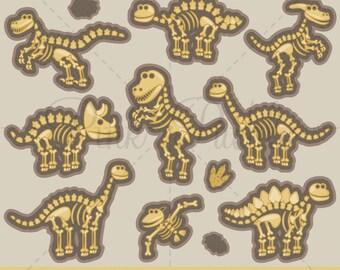 Clipart de dinosaure, dinosaure Clip Art, OS de dinosaure Clipart Clip Art, des fossiles de dinosaures - Commercial et personnel