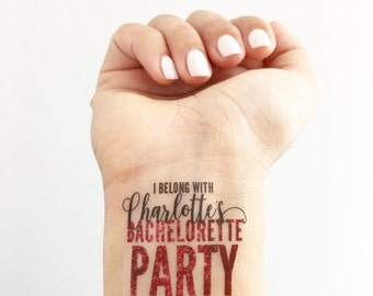 Custom Bachelorette Party Temporary Tattoos- Pink Glitter