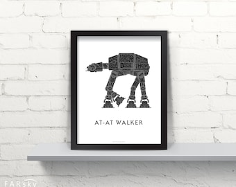 Far Sky AT-AT Walker Typographic Schematic