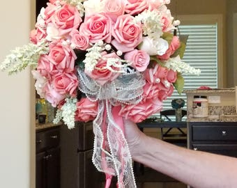 Beautiful Coral & Ivory Bridal Bouquet