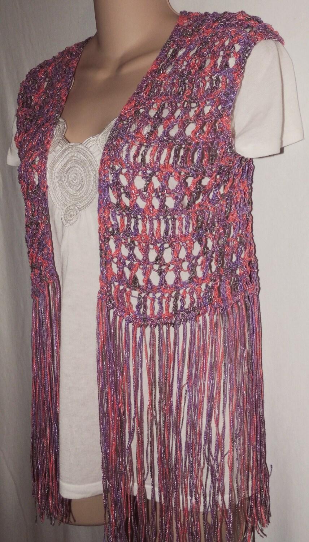 PDF Crochet Pattern for Long Fringe Vest or Swimsuit Cover. 3