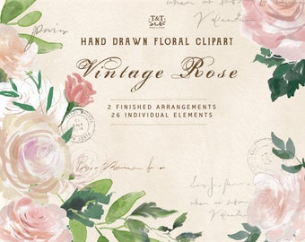 Vintage Rose Clip Art: 26 Floral Elements and 2 Finished Arrangements. Watercolor flowers that are ideal as wedding clipart and more.