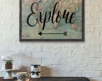 World map print travel poster map quote wanderlust poster explore print travel poster world map art travel quote motivational wall world map poster inspirational quote vintage map wanderlust gumiabroncs Choice Image