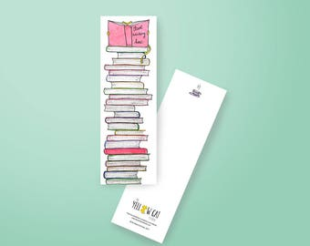 Bookmark - Single or set of 5 - watercolor illustration - Booklover gift idea - Bookworm - Books - Catlover - The Yellow Cat Studio