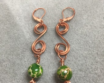 Hand formed and hammered copper wire earrings with green Imperial Jasper rounds