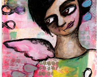 Girl with Angel Wings, Mixed Media Original Painting, 8x10 inches, Subconscious Dreams