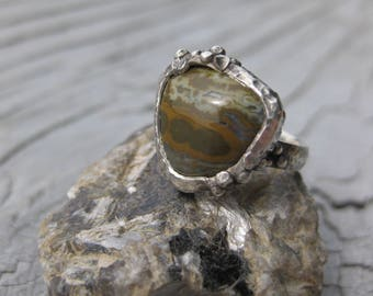 OLIVE GREEN ocean jasper ring sterling silver size 5 ready to ship