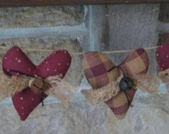 Mini Valentine Heart Garland - 5 Primitive Grungy Fabric Small Stuffed Hearts - Primitive Valentine's Day Decor - Wedding or Anniversary